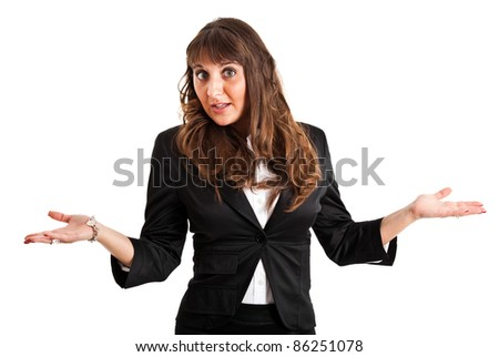 Sorry businesswoman isolated on white - stock photo