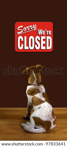 Sorry We Are Closed the Dog Reads. - stock photo