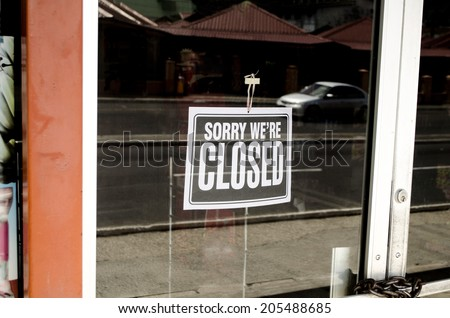 sorry we're closed sign - stock photo