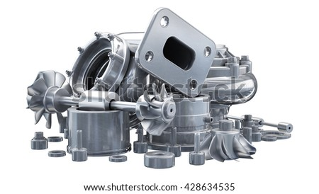 sorted turbocharger of car isolated on white background. High resolution 3d render