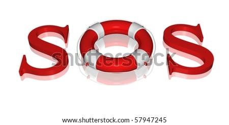 sos lifebuoy - stock photo