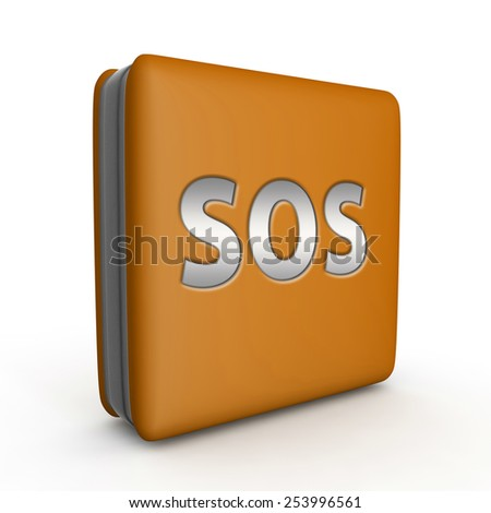 SOS square icon on white background