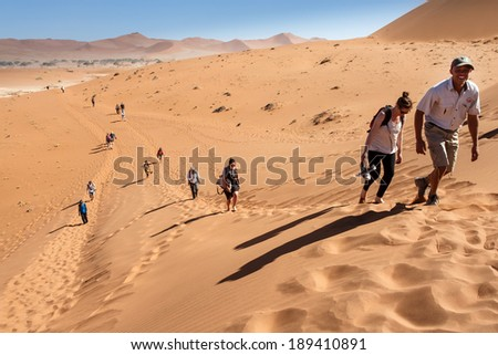 SOSSUSVLEI, NAMIBIA - NOVEMBER 2 2013: Tourists continue through the Namib Desert National Park in a year that was declared as a drought year by the government in Namibia, Africa