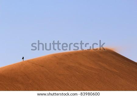 Sossusvlei sand dunes landscape (Famous dune 45), in the Namibian desert near Sesriem, Namibia - stock photo