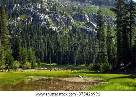 Sotcher Lake at Devils Postpile National Monument.  Destination Mammoth Lakes in California - stock photo