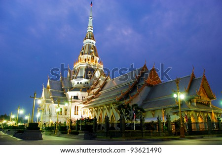 Sothorn temple in night at Chachoengsao province, Thailand. - stock photo