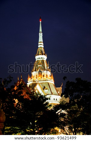 Sothorn temple in night at Chachoengsao province, Thailand.