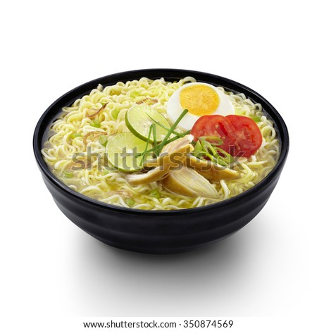 Soto Noodles Indonesian Food Isolated background - stock photo