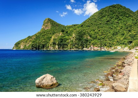 Soufriere Bay, Soufriere, Dominica - stock photo