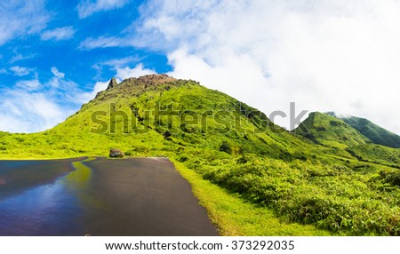 Soufriere volcano is the highest mountain in Guadeloupe, French department in Caribbean - stock photo