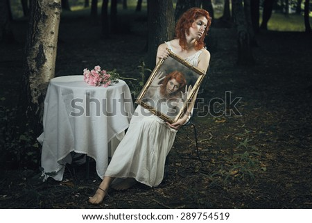Soul of a woman trapped inside a mirror in a strange forest . Dark and surreal