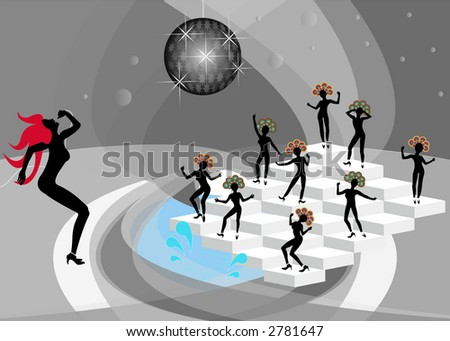 Soul Singer and Funky Dancers 2 - stock photo