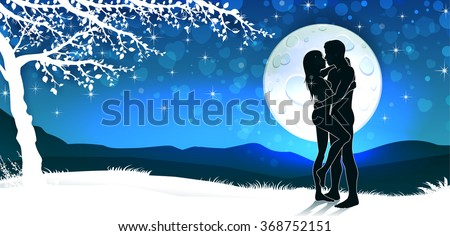 Soulmate couple silhouette with sunrise and vertical landscape - stock photo