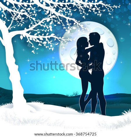 Soulmate couple silhouette with sunrise and vertical landscape 10 - stock photo