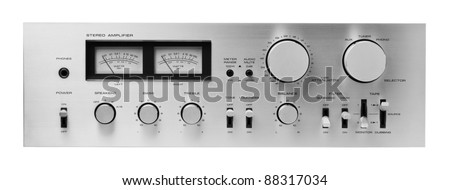 Sound amplifier front panel, isolated. - stock photo