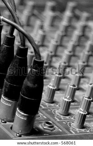 Sound Board clouse-up B&W - stock photo