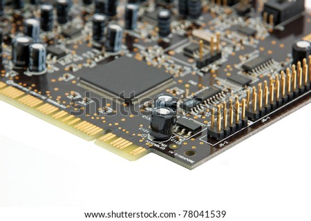 Sound card for computer, isolated on white background - stock photo