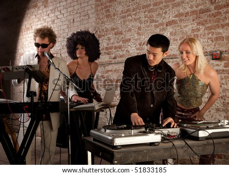 Sound check at a 1970s Disco Music Party - stock photo