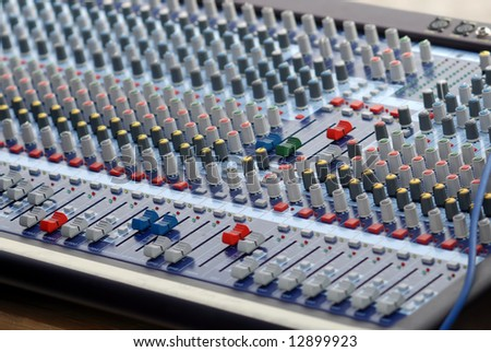 Sound control mixer used during musical concerts. - stock photo