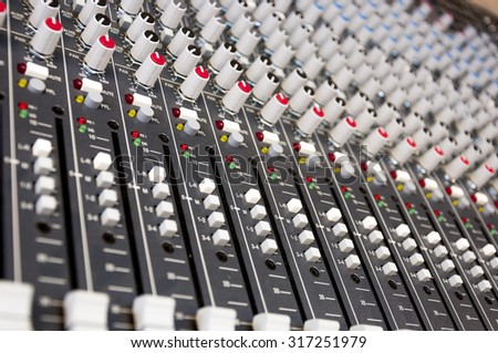 Sound control panel buttons - stock photo