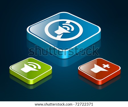 Sound icon set - Vector illustration - stock photo