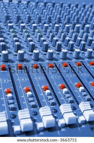 sound mixer console - stock photo