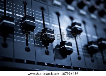 Sound mixer control panel - stock photo