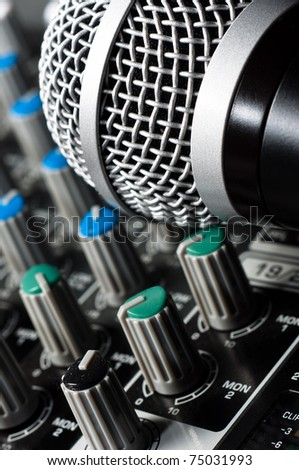 Sound mixer with microphone and blurs
