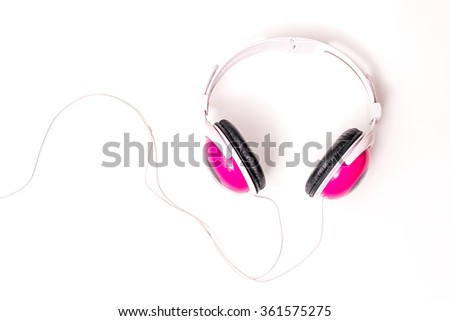 Sound music headphone. Audio technology. Modern earphone. Stereo volume equipment object. Digital ear phone with cable. Dj studio entertainment. Personal electronic device. Portable mobile recording. - stock photo