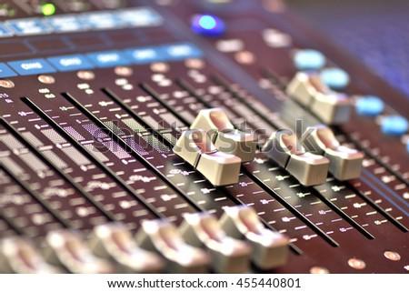 Sound music mixer control panel, selective focus. - stock photo