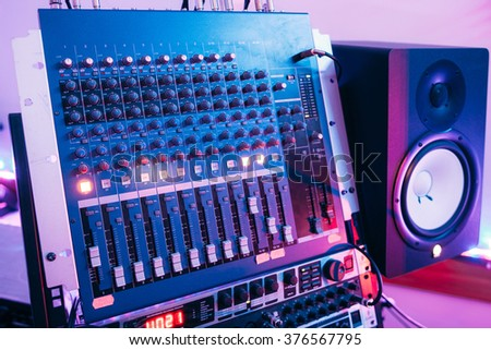 Sound producer audio controller. Dj studio system - stock photo