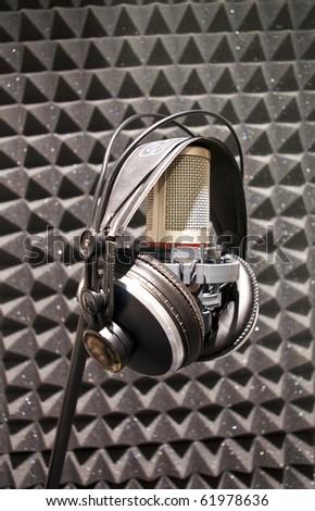 sound recording studio. - stock photo