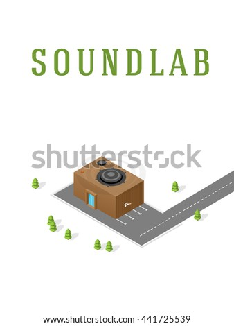 Sound recording studio. Isometric building.  - stock photo