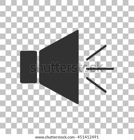 Sound sign illustration with mute mark. Dark gray icon on transparent background. - stock photo