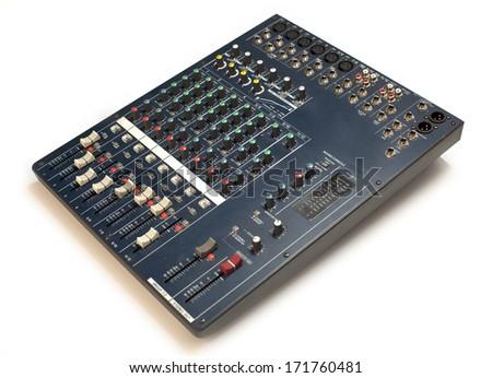 sound studio adjusting record equipment  music mixer in studio closeup  - stock photo