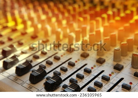 Sound studio record equipment with faders