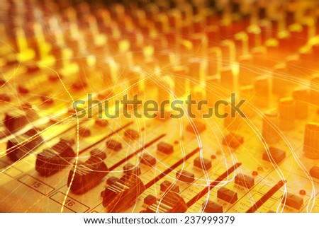 Sound studio record equipment with faders - stock photo