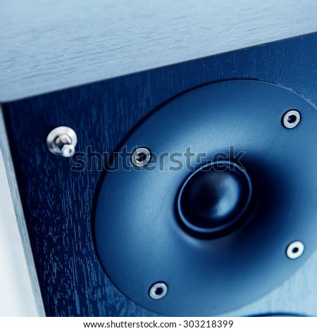 Sound system detail close-up in recording studio electroacoustic transducer - stock photo