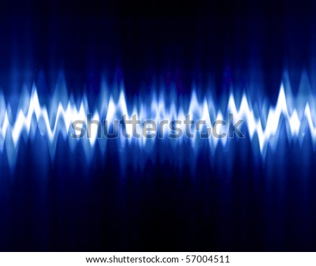 sound wave on a dark blue background - stock photo