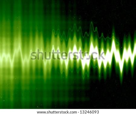 sound wave on a dark green background - stock photo