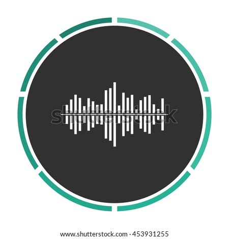 Sound waveequalizer music. White circle button on black background - stock photo