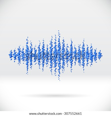 Sound waveform made of chaotic scattered blue balls - stock photo