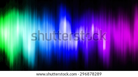 Sound waves oscillating magic glow green blue purple light, modern Abstract pattern technology background. motion move blur. ray. beam. aura. dark