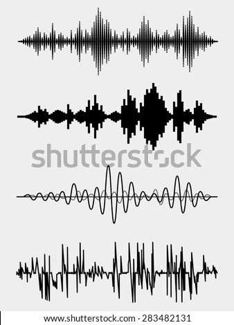 Sound waves set. Audio equalizer technology, pulse musical - stock photo