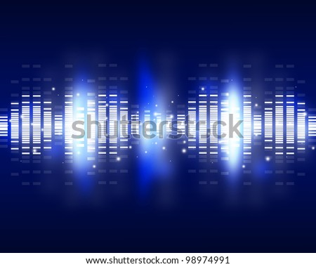 Sound waves set. Music background - stock photo