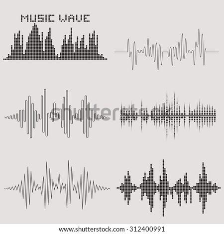 Sound waves set. Music waves icons. Audio equalizer technology. Illustration. - stock photo