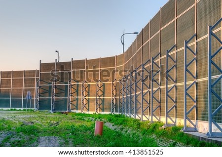 soundproof wall by the roadside wall of the highspeed road