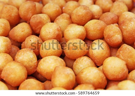 "Soup balls. Soup pearls texture. Fried batter pearls (""Backerbsen"") - Bavarian soup garnish specialty. Soup bread balls food photo studio photography"