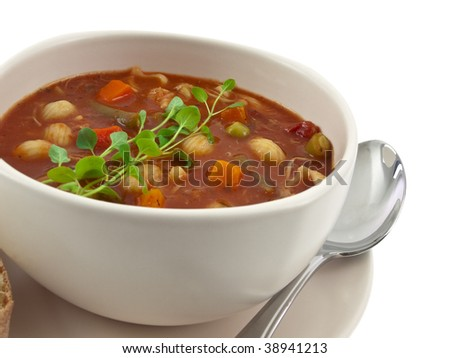 Soup bowl intimate view - stock photo