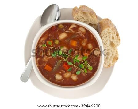 Soup bowl top view - stock photo
